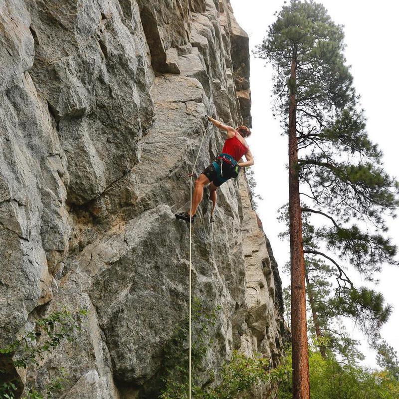 Climber in Skaha Bluffs Provincial Park, Canada