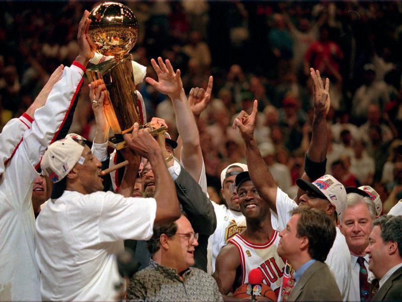 Chicago Bulls celebrate NBA Championship