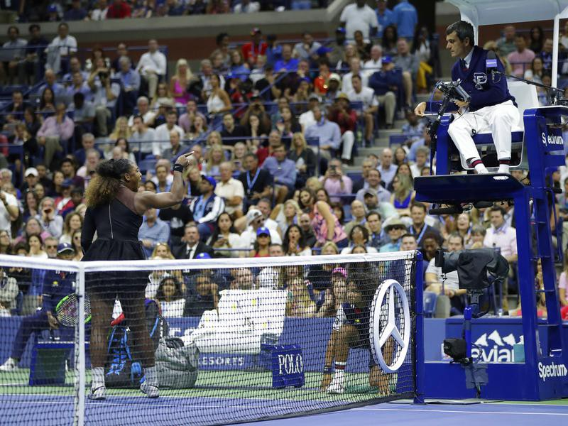 Serena Williams arguing with an umpire at the U.S. Open