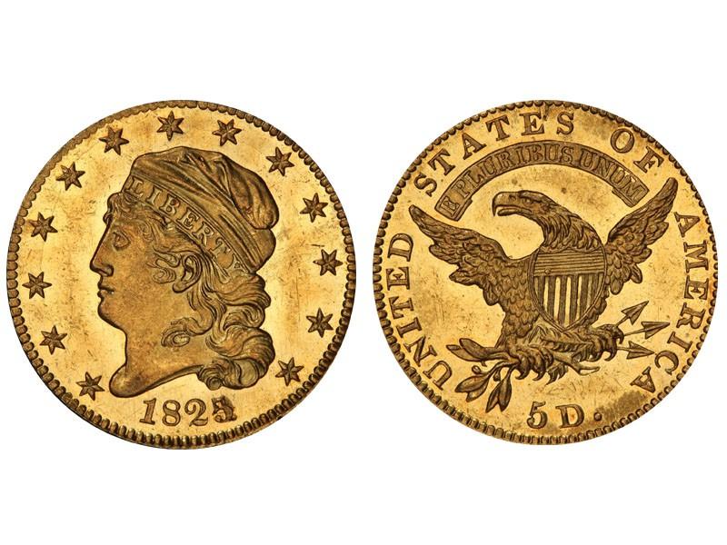 1825/4 Capped Head Left Half Eagle