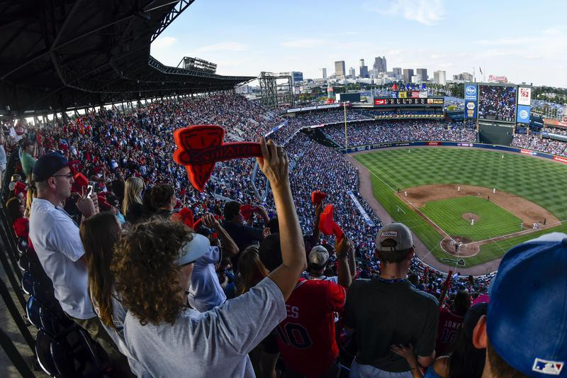 Tomahawk chop and scenic outfield