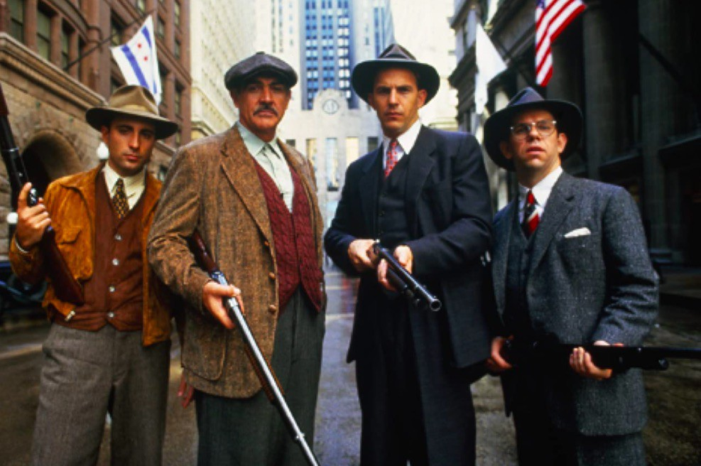 Sean Connery, Kevin Costner, Andy Garcia, and Charles Martin Smith in The Untouchables