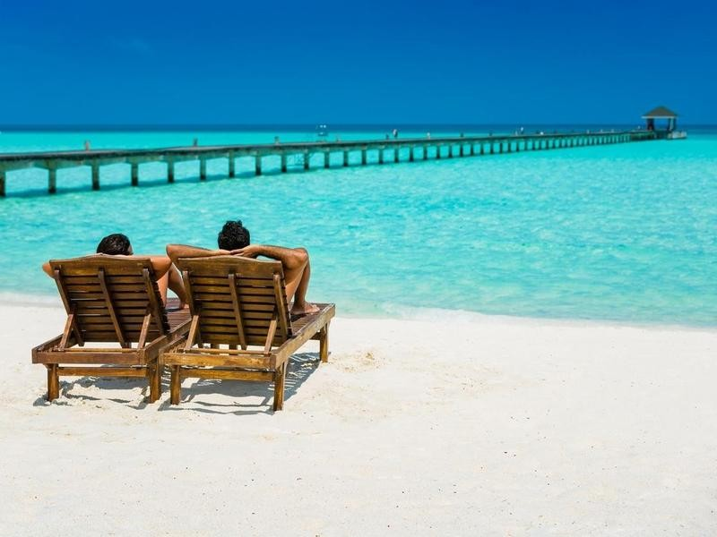 Couple relaxing in the Maldives