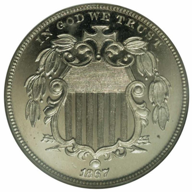 1867 Rays Cameo Proof Shield Nickel