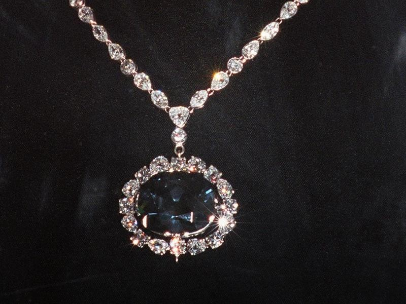 The Hope Diamond Set in a Necklace