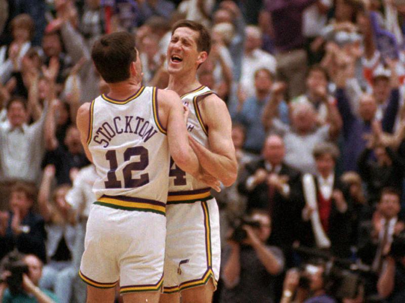 Jeff Hornacek and John Stockton celebrate