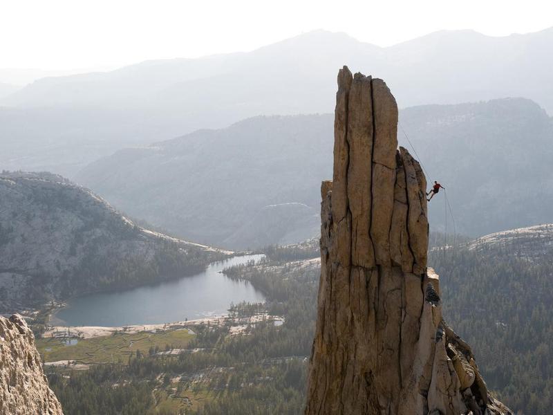 Climber on Eichorn Pinnacle in Yosemite
