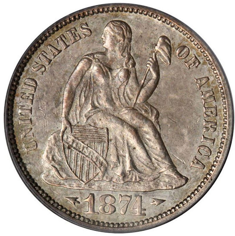1874 CC Seated Liberty Dime With Arrows