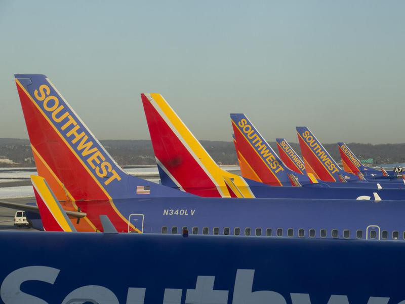 Row of Southwest Airlines planes