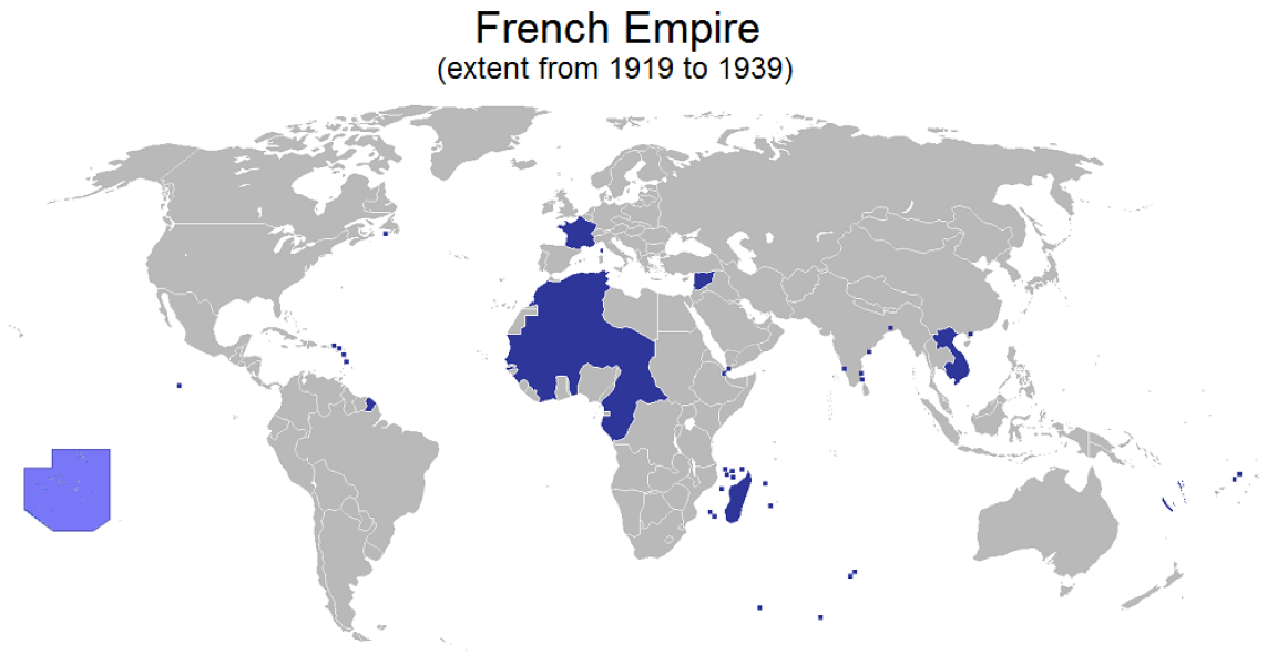 Map of the second French colonial empire