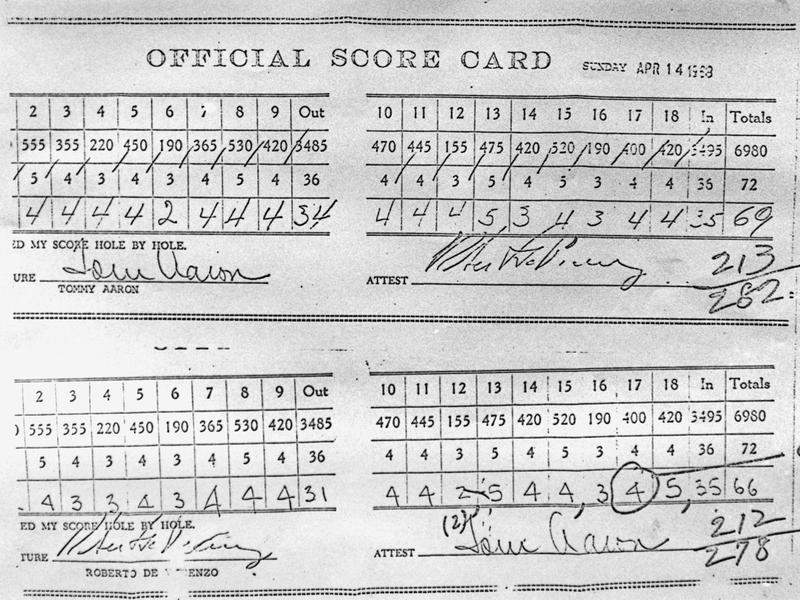 1968 Masters scorecard