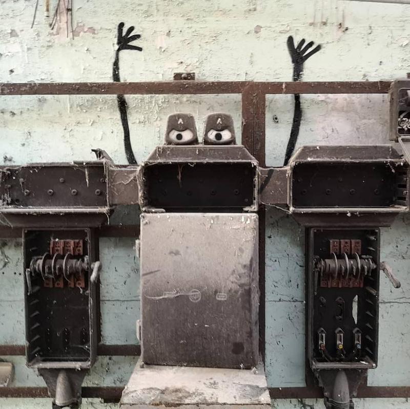 Abandoned factory street art intervention in Belgium