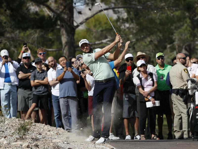 Peter Uihlein hits out of dirt at Shriners Hospitals for Children Open