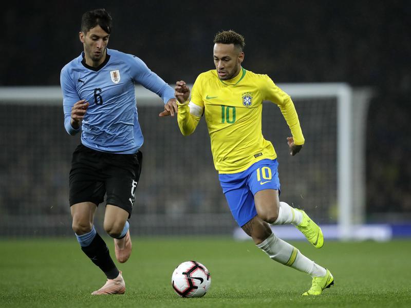 Neymar and Rodrigo Bentancur