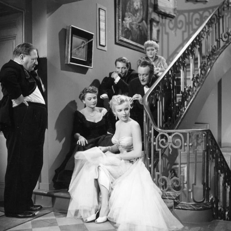 Marilyn Monroe, Anne Baxter, George Sanders, Celeste Holm, Gary Merrill, Gregory Ratoff in All About Eve