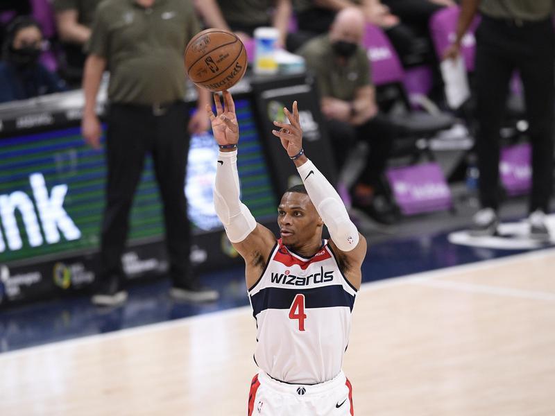 Russell Westbrook of Washington Wizards shoots against Milwaukee Bucks