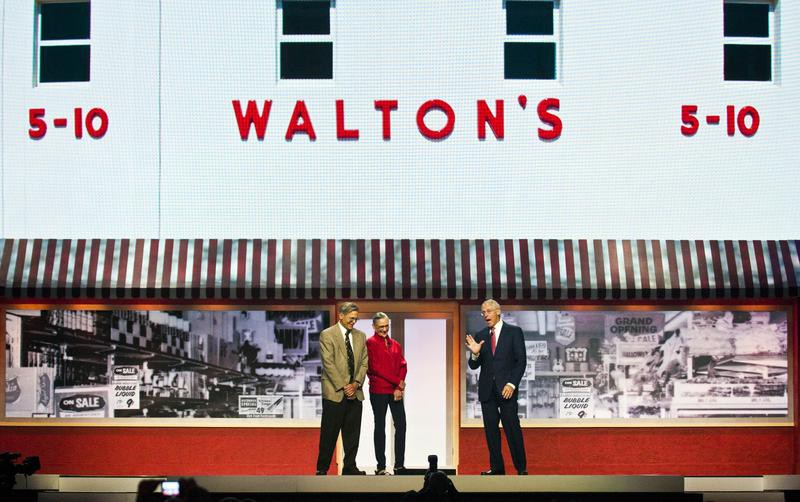 The Waltons stand by video board