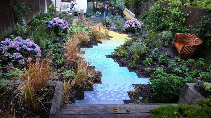 Shimmering garden pathway