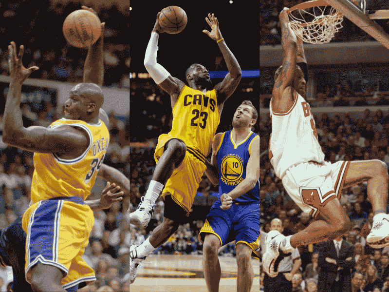 Shaquille O'Neal, LeBron James and Dennis Rodman