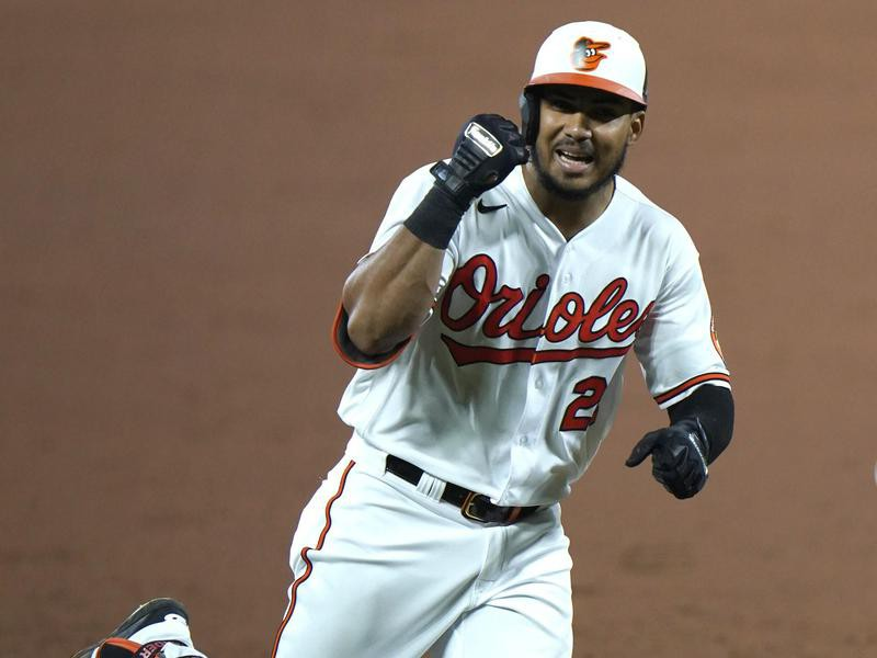 Anthony Santander reacts after hitting home run