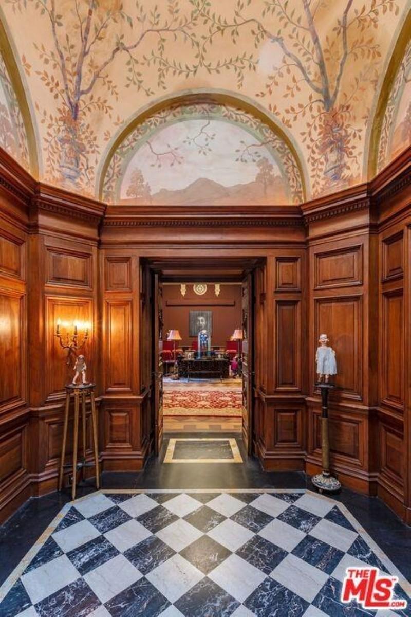 Hallway with marble floor