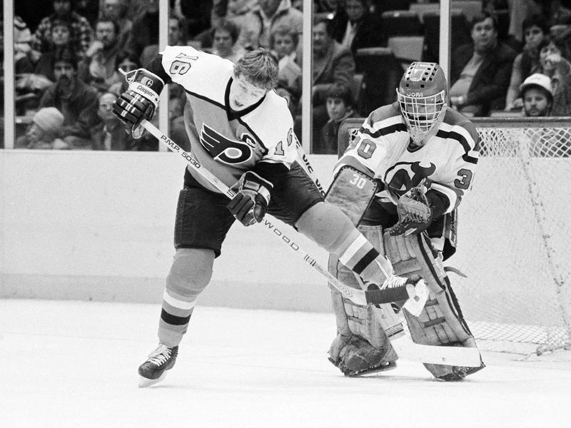 Philadelphia Flyers' Bobby Clarke scores