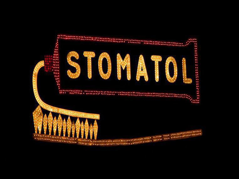 Stomatol toothpaste sign in Stockholm