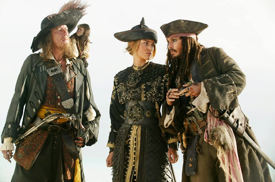 Johnny Depp, Geoffrey Rush, and Keira Knightley in Pirates of the Caribbean: At World's End