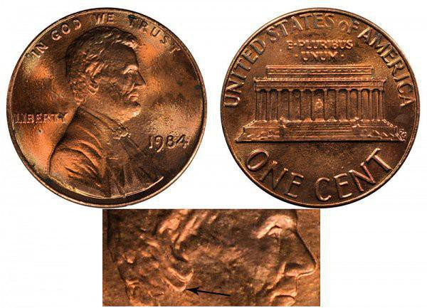 1984 Lincoln Memorial Cent Doubled Die Ear