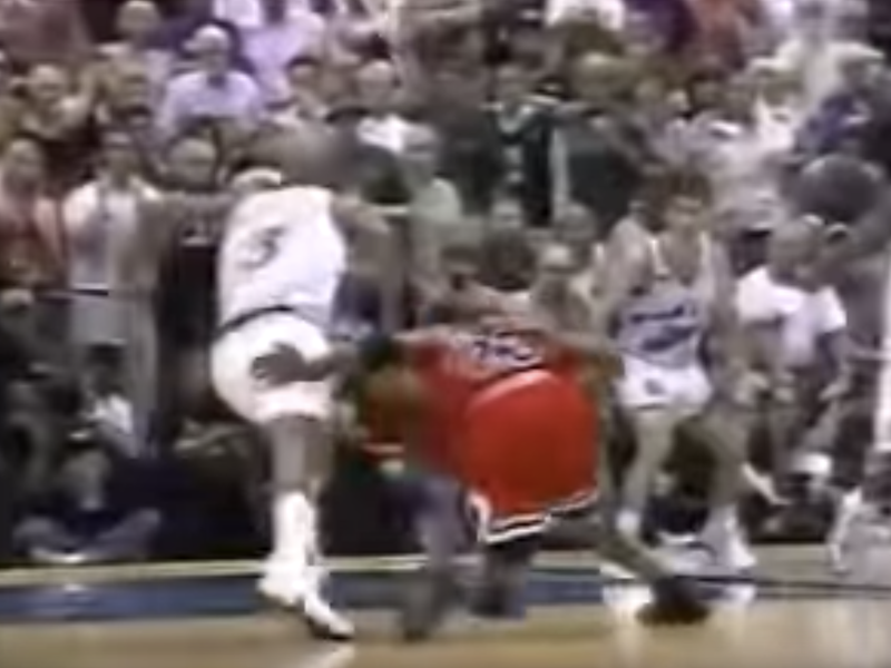Michael Jordan and Bryon Russell