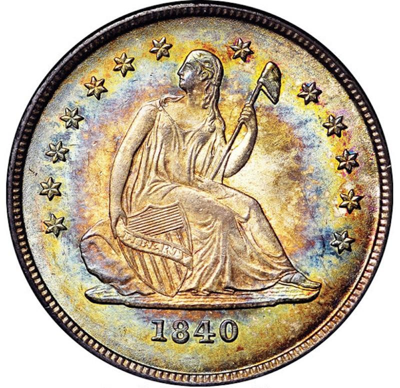 1840-O Seated Liberty No Drapery Quarter