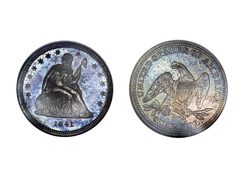 1841 Proof Liberty Seated Quarter