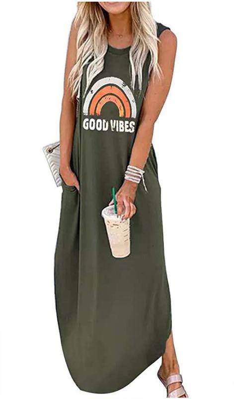 Good Vibes Rainbow Pocket Sleeveless Maxi Dress for Women