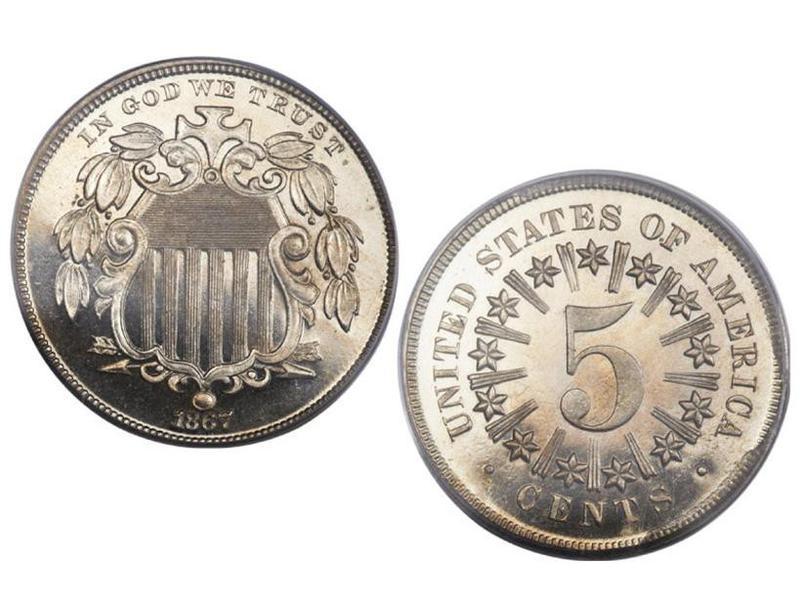 1867 Rays Shield Cameo Nickel