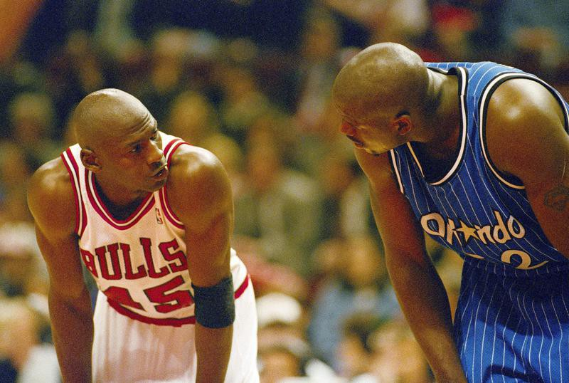 Shaquille O'Neal stares at Michael Jordan