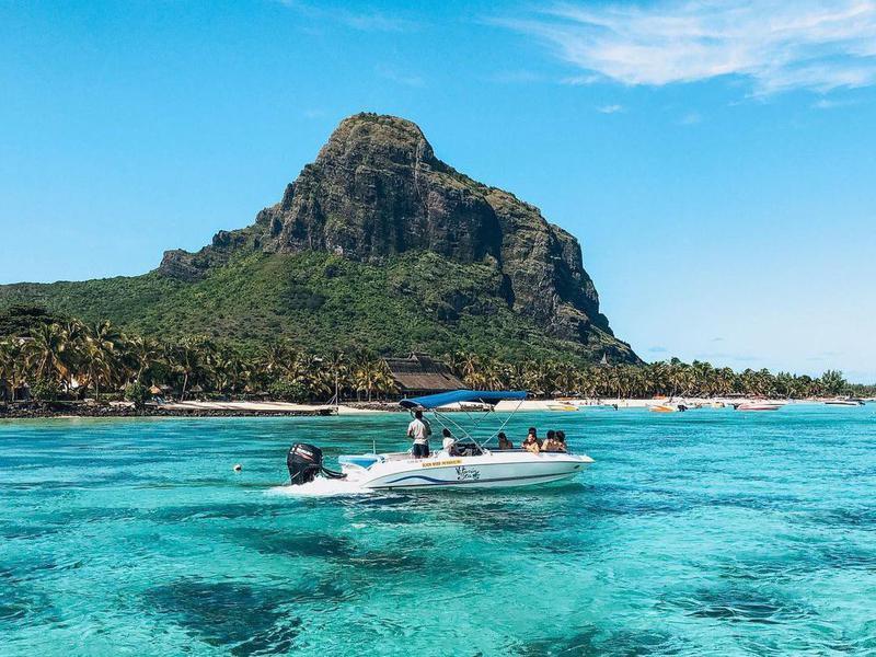 Tourist boat in Mauritius