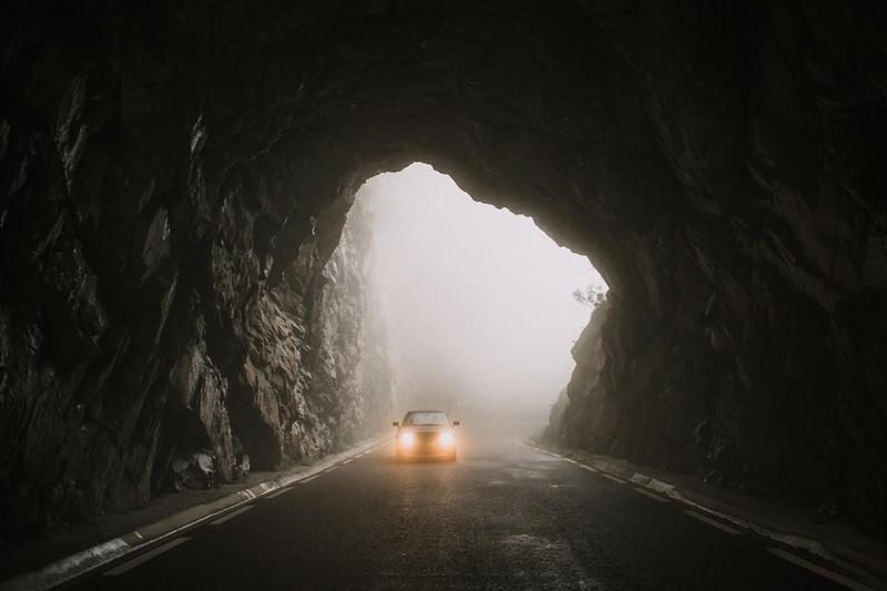 Car entering tunnel