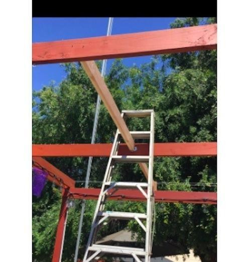 Ladder stuck in awning