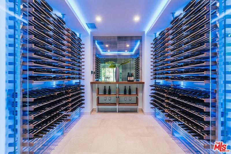 Neon-lit wine room