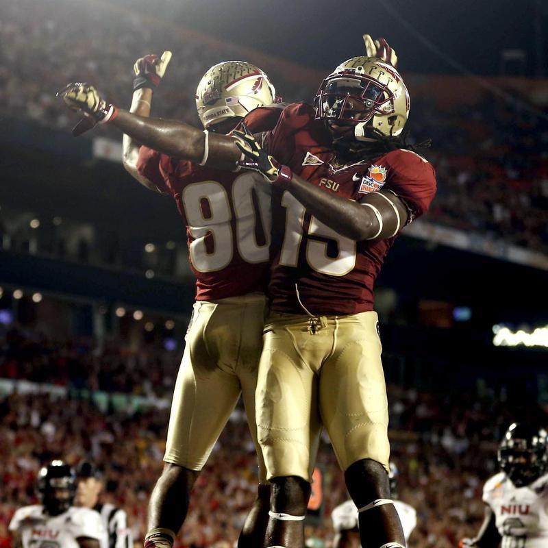 Florida State wide receivers Greg Dent and Rashad Greene celebrate