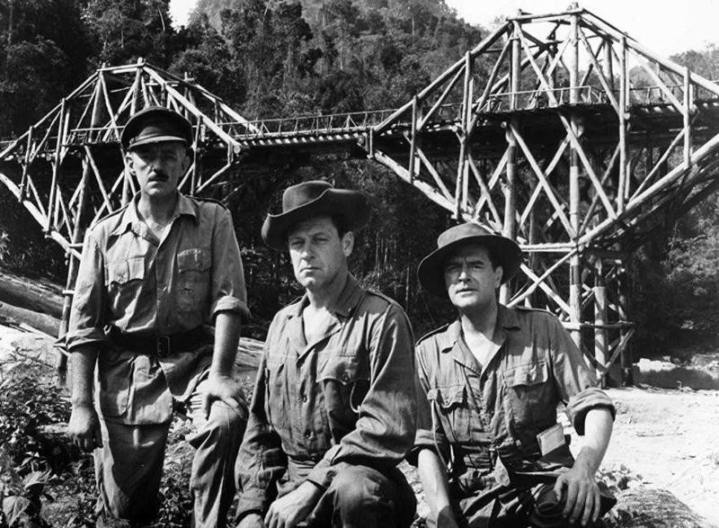 Alec Guinness, William Holden, and Jack Hawkins in The Bridge on the River Kwai