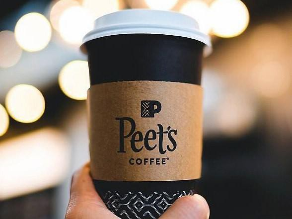 Closeup of Peet's Coffee cup