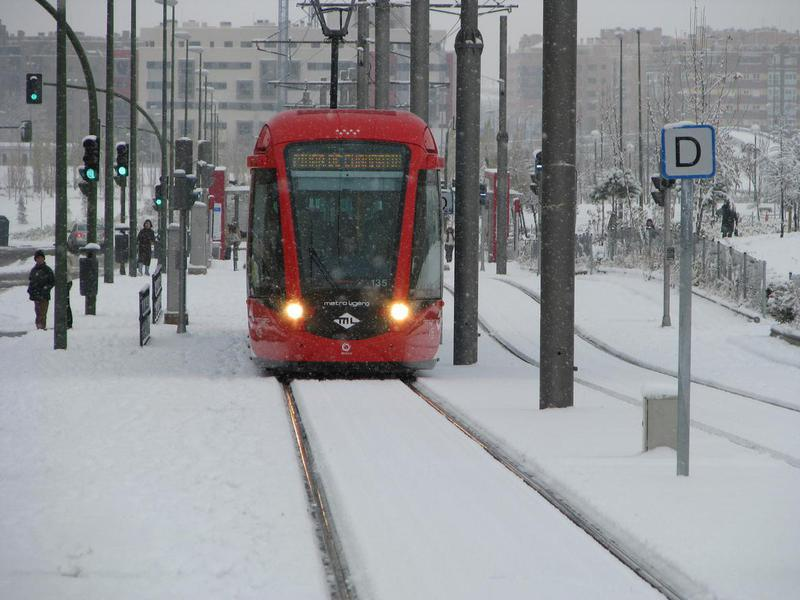 Madrid tram with snow