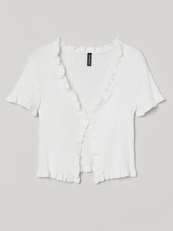 Ruffle-trimmed Ribbed Cardigan