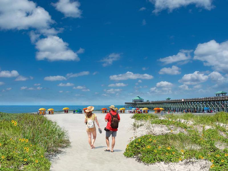People at Folly Beach, South Carolina