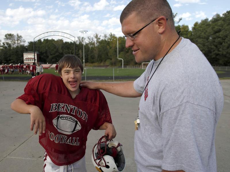 Matt Ziesel  with Coach Dan McCamy at practice