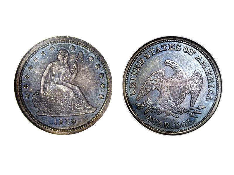 1839 Proof Seated Liberty Quarter