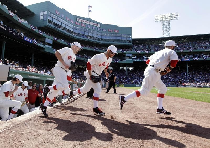 Boston Red Sox in throwback uniforms