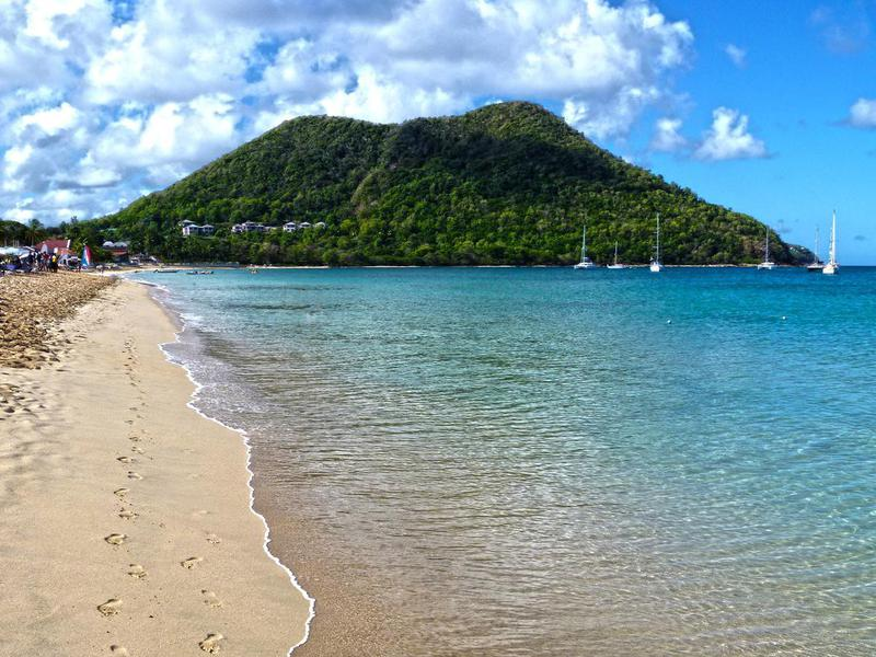 Beautiful view of Reduit Beach at St. Lucia Island