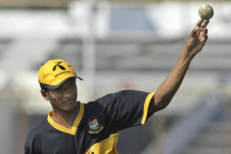 Bangladesh's Shakib Al Hasan practices with ball